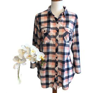 Eden & Olivia Salmon and Navy Plaid Large